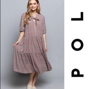 POL Ditsy Flower Red Bean MIDI Dress